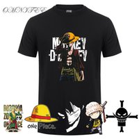 Camiseta de verano de One Piece Men Monkey D Luffy T Shirts Nueva camiseta de manga corta de algodón Anime Zoro Ace Law Y19050701