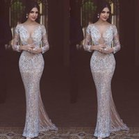 Luxury Beading 2019 Mermaid Evening Dresses Long Sleeve Beaded Illusion Sheer Neck Prom Gowns Arabic Formal Party Dress