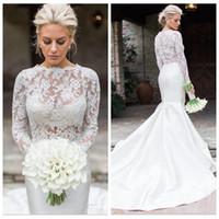Кружева длинные рукава русалка 2020 свадебные платья свадебные штрафы свадебные свадебные платья скромные Ретро Vestidos de Mariee