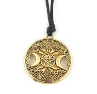 Тройная Луна Богиня Викка Пентаграмма Магия Амулет Ожерелье Старинные Серебряные Женщины Древо жизни Луна Готический Ожерелья Для Мужчин Ювелирные Изделия