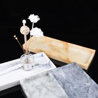 Marble Pattern-Speicher-Tray Resin Schmuck-Anzeigen Platte kreatives Dessert Snack Kuchenteller Restaurant Serviertablett
