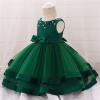 Baby Dress Pearl Embroidery Tutu Baby Girl Christening Gowns...