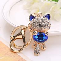 Bella moda cristallo diamante strass gatto portachiavi catena chiave della signora portachiavi per auto portachiavi borsa borsa decorazione regalo