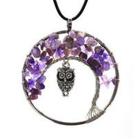 11 couleurs femmes arc-en-ciel 7 chakra arbre de vie quartz hibou pendentif collier multicolore pierre naturelle sagesse collier