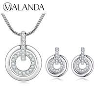 بلورات مالاندا من مجموعات مجوهرات سواروفسكي الأزياء دائرة مزدوجة قلادة قلادة أقراط مجموعات للنساء اكسسوارات الزفاف