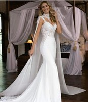 2020 Mermaid Wedding Dresses With Detachable Wrap Sexy Spagh...