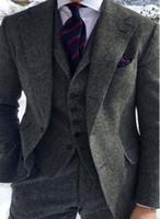 2020 Mens Suit Herringbone ternos de lã 3 peça Tweed Mistura Vintage Peaky Blinder Custom Made Groom Wear Jacket Pants Vest