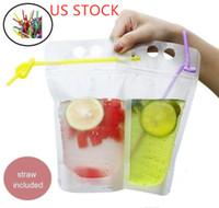 ABD hisse senedi Temizle İçecek Torbalar Çanta Fermuar Stand-up Plastik tutucu Kapanabilen Isı Doğrulayıcılı saman Çanta İçme buzlu