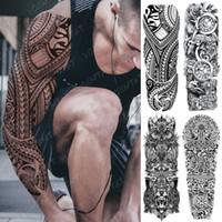 attoo arte de cuerpo tatuajes temporales grandes de la manga del brazo del tatuaje del ángel Lucifer Águila impermeable temporal Tatto Etiqueta infierno Satanás arte de cuerpo ...