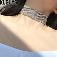 도매 패션 주얼리 실버 크리스탈 라운드 와이드 목걸이 여성 빈티지 체인 섬세한 금속 Chokers 목걸이 액세서리