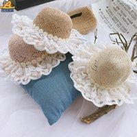 Новый стиль 2020 Летний цветок девочки шапки кружева крышка младенца сладкий принцесса дети шляпы девочки ведро шляпу малышей соломенной шляпе пляж шляпу розничной