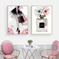 Fashion Girl Paris Perfume Flower Tacones altos Carteles e impresiones nórdicos Arte de la pared Lienzo Pintura Decoración Imágenes Sala de estar