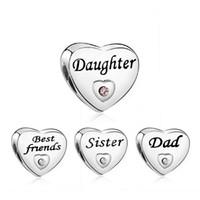 Charms nuovo cuore di stile branelli di fascino membro della famiglia Amico papà sorella figlia misura per la collana dei monili del braccialetto fai da te accessori regalo
