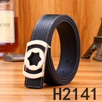 2019 New Fashion Belt Smooth Buckle Leather Belt Punching Em...