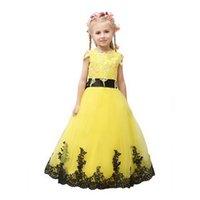 Vestido da menina flor amarela Lace Tulle Primeira Comunhão vestidos para meninas Puffy Pageant vestido de baile Crianças Prom Dress
