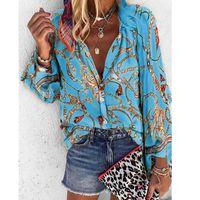 Kadın Yaka Boyun Sonbahar Kış Baskılı Bluz Lüks Çiçek Bluzlar Yeni Sonbahar Moda Tasarımcı Gömlek Uzun Kollu Gömlek S-5XL 2020 Tops