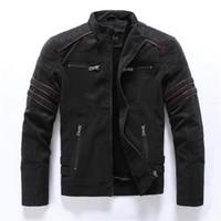 2019 automne hiver veste cuir veste de mode décontracté de mode de stand collier moto veste homme slim de haute qualité PU cuir manteaux