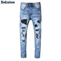 Sokotoo erkek rhinestone kristal patchwork açık mavi yırtık kot Slim fit sıska streç denim pantolon