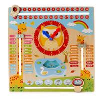 Montessori Öğretim Yardımcıları Ahşap Çok fonksiyonlu Takvim Saat Bilişsel Oyuncak Öğrenme Okul Öncesi Erken Çocukluk Eğitici Oyuncaklar