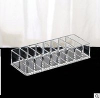 Makeup Organizer Clear Acrylic Brush Lipstick Holder New 8 Grid Cosmetic Makeup Tools Transparent Storage Box Case