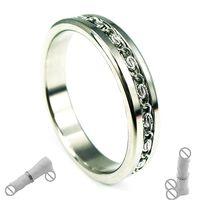 Penis Ring en acier inoxydable avec chaîne en dentelle pour les hommes en acier inoxydable arbre anneau de retenue