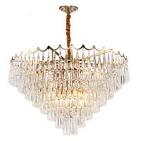 LED Luxus Kronleuchter Beleuchtung Gold Hängende Kristall Leuchte Wohnzimmer Esszimmer LED Cristal Lustre Home Decoation Lampe UPS