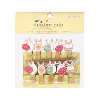 10 Pcs Set Lovely Easter Bunny Wooden Clip Photo Clips Party...