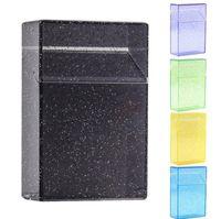 Ganska transparent färgstark plast bärbar tobak cigarettfodral hållare förvaring flip cover box innovativ design skyddskal rökning