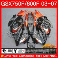 Cuerpo para Suzuki Katana GSXF750 GSX600F GSX750F GSXF600 3HC.33 Negro Naranja GSXF 750 600 03 04 05 06 07 2003 2004 2005 2006 2007 Kit de carga