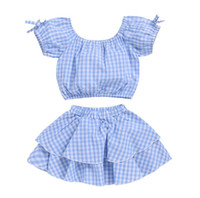 Kids Baby Girls T Shirt Off Shoulder Sky Blue Plaid Crop Top...