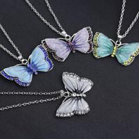 المينا الماس فراشة قلادة الملونة فراشة قلادة النساء القلائد المعلقات سوف والرمل الأزياء والمجوهرات 380206