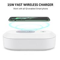 Multifuction Móvil Cargador inalámbrico esterilizador UV caja de doble desinfección lámparas 15w QI rápida que carga para el teléfono celular del envío gratis A