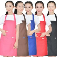 Pure Color Cooking Kitchen Apron For Woman Men Chef Waiter C...