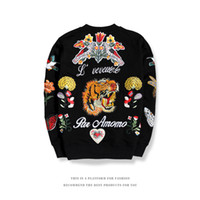 7632556db80 Wholesale black tiger sweater online - Spring Mens Casual Sweater New Tiger  Embroidery Round Neck Casual