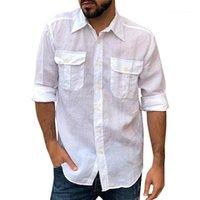 قميص الذكور كم طويل بلايز رجالي الجيب مزدوج الشحن SHRITS الربيع مصمم التلبيب الرقبة اللون الصلبة