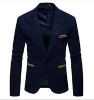 Diseñador de los hombres chaqueta de la manera de la pana solo botón sólido Color de la camisa ocasional de la chaqueta de cuello en V manga larga de los hombres Ropa