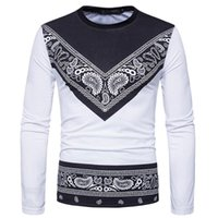 Tshirt Men' s Autumn African Print Long Sleeved Round Co...