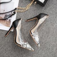 حار بيع أحذية نسائية مثير واشار تو جلد الثعبان نمط أحذية واحدة شفافة الصنادل عالية الكعب أزياء المرأة