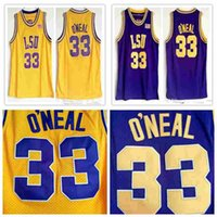 eeaefdd8f53 New Arrival. Hot Sale NCAA MEN College LSU Tigers #33 Shaq O'NEAL  Basketball Jersey Shaquille Oneal Stitched Vintage Shirts ...
