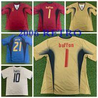 Top 2006 Itália Futebol Jerseys Imaglia Buffon Totti Pirlo Canavaro Toni Gattuso de Pé Survego Qualidade Tailandesa 06 Materazzi Camoranesi Camisas de futebol Tamanho S-XXL