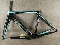 Blaue schwarze Farbe Bianchi XR4-Rahmen Carbon Rennradrahmen Fahrrad Frameset mit Gabel + Sattelstütze + Headset + Klemme BB386