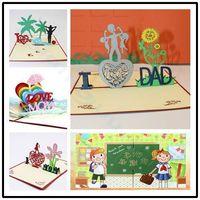 tournesol fête des pères Thanksgiving 3D pop up carte carte de voeux dessin animé cadeau papier coupe papier merci carte carte postale