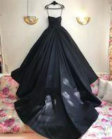 볼 가운 고딕 웨딩 드레스 플러스 사이즈 연인 얇은 명주 그물 아랍어 두바이 국가 신부 가운 블랙 웨딩 드레스 Vestido de Novia Wed Dress