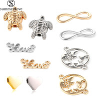 Antique Sliver Ouro Infinito amor encantos Elephent Palavra Connector coração que faz Pulseira de metal colares ornamentos Jóias-Z