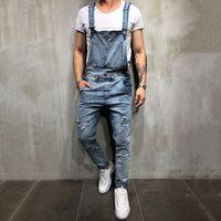 2019 Moda Erkek Jeans Tulumlar Sokak Sıkıntılı Delik Denim Önlüğü tulumları için Man Suspender Pantolon Boyut M-XXL Ripped