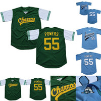 Mens Kenny Powers #55 Eastbound and Down Mexican Charros Kenny Powers 100% Stitched Movie Baseball Jersey Green Blue Fast Shipping