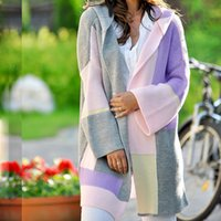 Womens Color Block Striped Draped Kimono Cardigan with Pocke...