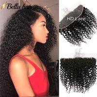 13x4 Ear-Ear-Ear HD Frontal Cierre Frontal con Hair Baby Extensiones indias Curly Bellahair