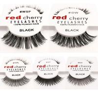 Rouge cerise 100% fait main Cheveux Cils WSP Lashes main Faux Cils Messy Nature Cils 12 Styles 12 paires / set