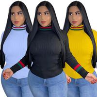 Camisas de punto Camisas Pulir Skinny Sudaderas con capucha de paneles Lstripado Color Sólido Ong Tops Fall Invierno Ropa Moda Caliente Venta 2021
